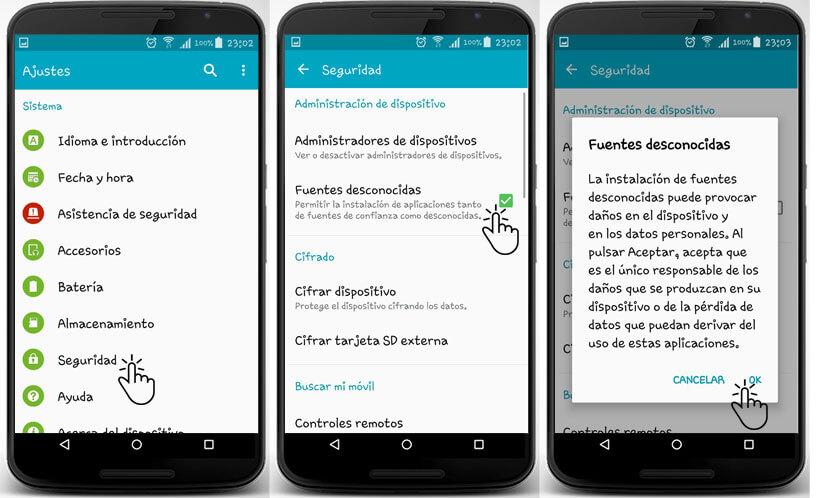 Actualizar Play Store fuentes desconocidas Android